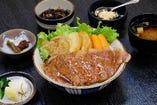 寶来亭 ステーキ牛丼 セット