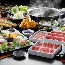 牛しゃぶしゃぶ、寿司、串揚げ
