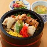 炭火焼き鳥山菜丼(スープ・お新香付き)