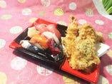 握り寿司5個&天婦羅