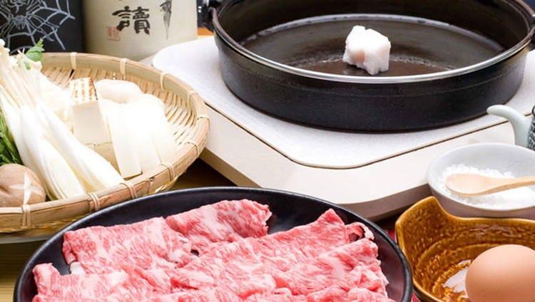 甘すぎない味付けの割り下が、三田牛の旨みを引き出します