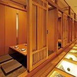 和モダンな落着く大人の雰囲気の店内。大小個室をご用意しております!