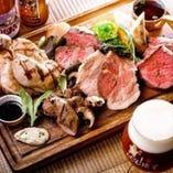 アンガス牛ハラミと東京銘柄豚 TOKYO Xと国産鶏胸肉の石窯ロースト盛り合わせ