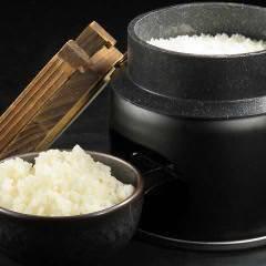 目の前で炊き上げる北海道米のごはん
