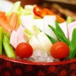 朝摘み野菜の盛り合わせ。3種の味噌でどうぞ【八重洲 居酒屋】