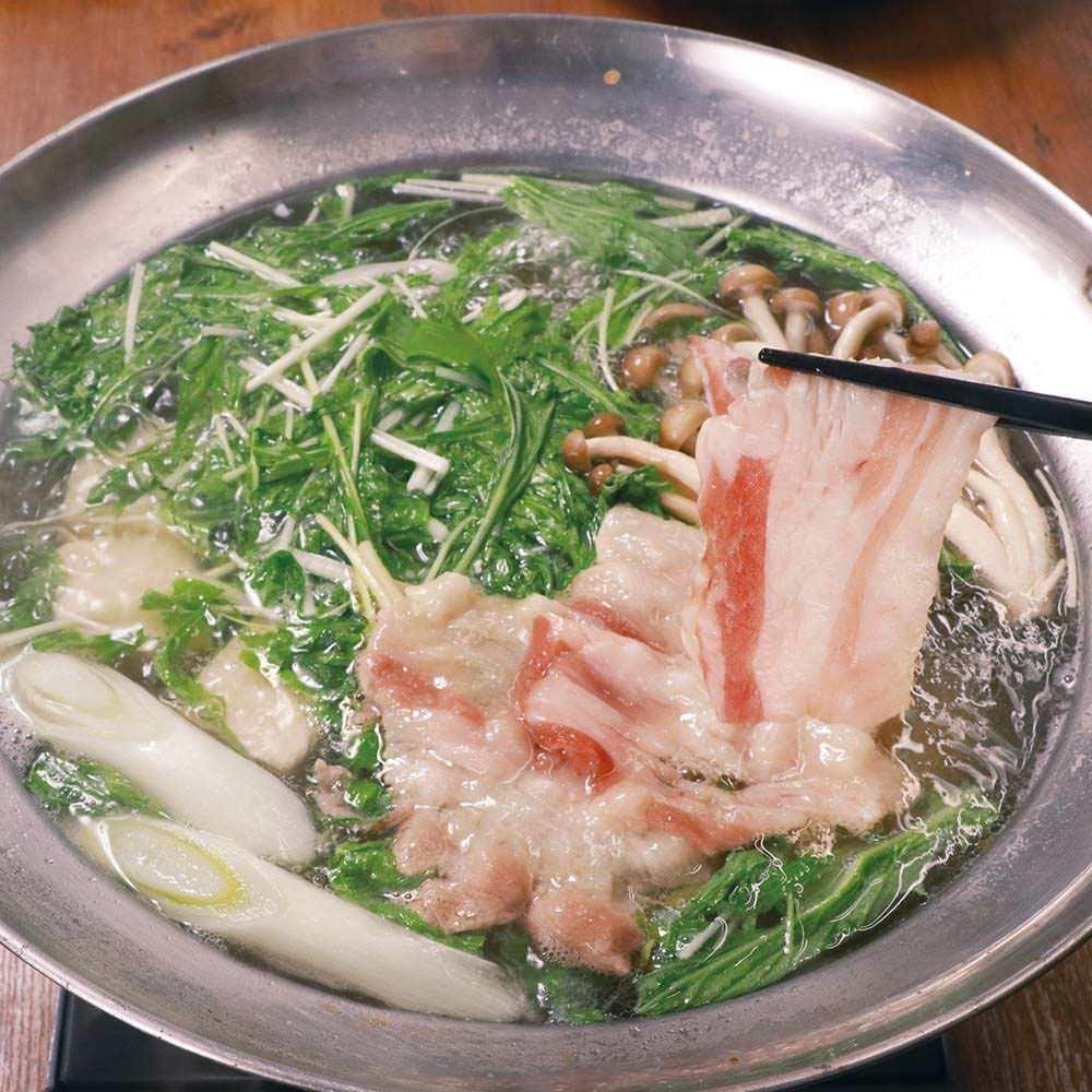 5種ハーブのグリルチキンと三元豚と水菜のハリハリ塩鍋コース