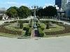 難波橋の途中で、右側にバラ公園が見えてきます。