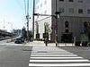 「難波橋北詰」の横断歩道です。お店はもうすぐ!