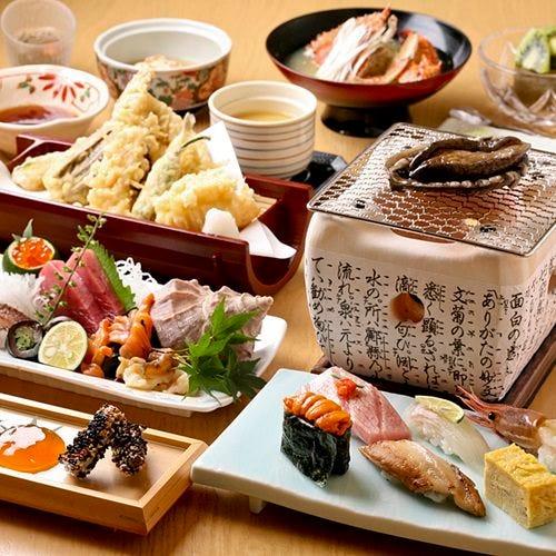 刺盛に天ぷらにアワビに寿司と 豪華『すし鷹コース』