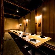 『和』を基調にした落ち着きある個室