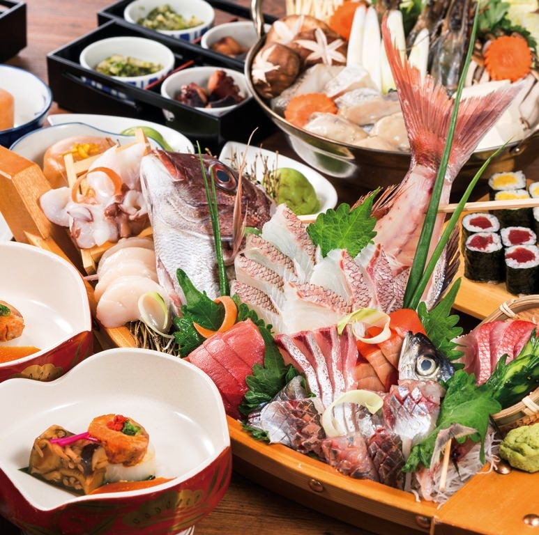 【ぐるなび限定】《日本一》鮮魚の舟盛り、本日の天ぷら、上にぎり5貫 飲み放題付き6,500円 2名様~