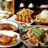 骨付鳥と自家製鳥もつ煮が味わえる『竹』コース<全9品>特製鶏もつ煮込みの「白湯」をメインに据え「骨付鳥」や「せせり南蛮」が脇を固める、質実剛健のコース