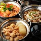 『梅』コースでは、三種の選べる鍋「讃岐おでん鍋」「色々キノコの湯豆腐」「トマトラー油のピリ辛トマト鍋」をご用意