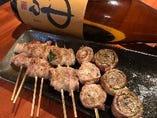 野菜を豚バラで巻いた肉巻き串も大好評!