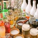 プレモルや豊富な韓国酒が楽しめる飲み放題はコース料金+500円でOK!単品飲み放題もご用意しています
