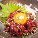 【桜ユッケ】新鮮な馬肉のユッケです
