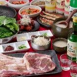 【組数限定】ジューシーな豚バラ焼肉&韓国逸品『サムギョプサルコース』飲み放題付