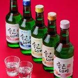 韓国のフルーツ風味のカクテル焼酎「ジョウンデー」もご用意!