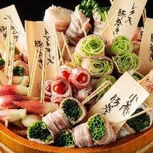 小葱やレタスなど新鮮野菜・肉巻き串