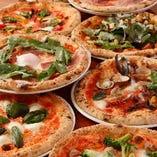 15種のピッツァ食べ放題プランで、マルゲリータやビスマルク、ゴルゴンゾーラなどお好きな味を