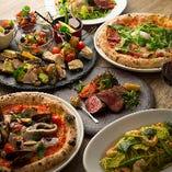 宴会やパーティーで人気!15種のピッツァ食べ放題の飲み放題付プラン(4,980円)は、マルゲリータやビスマルク、ゴルゴンゾーラなどお好きな味を心ゆくまでお楽しみいただけます
