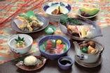 旬の地元浜松産野菜、鮮魚を主に使ったお料理になります。