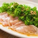 朝挽き鶏ささみのたたきネギ塩ポン酢