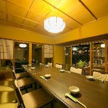 嵐山の絶景を望む宴会専用個室あり
