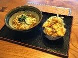 【日替わりランチセット】鶏天かき揚げ丼とかけうどんセット