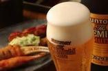 美味しい串揚げをビールと共に…