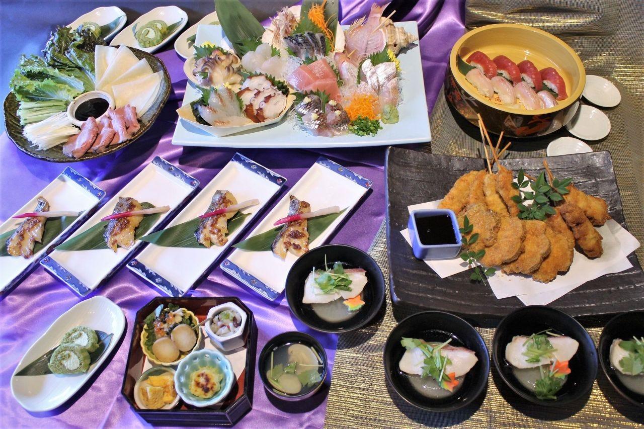 【2H飲み放題付】旬の鮮魚4種の刺身、全品銘々盛りで贅沢三昧コース♪ 5000円コース〈全8品〉