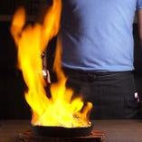 宴会に大人気!炎が燃え上がるファヒータ♪