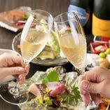 お祝いの日や頑張ったご褒美のお食事は、スパークリングワインの乾杯から