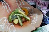 バジル麩と野菜のオリーブオイル蒸し