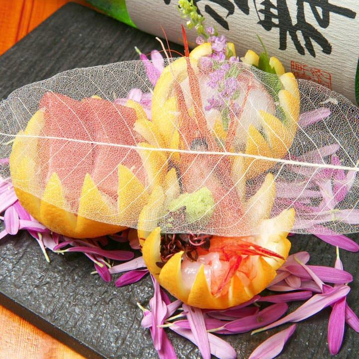 ◆季節食材を用いた彩り鮮やかな日本料理をご満喫できる 2時間飲み放題付『月 会席コース』[全8品]
