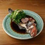 本日の蒸し魚 オリーブと芥子菜の漬物蒸し 中国醤油ソース