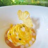 マンゴーとパイナップルのローズマリーヨーグルトムース