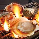 新鮮な魚貝を目の前で焼く♪インスタ映え!?