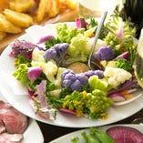 彩地野菜の味噌バーニャソース