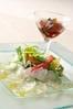 ◇お魚 鮮魚のカルパッチョ 土佐酢のジュレ添えとパルマ産生ハム原木から