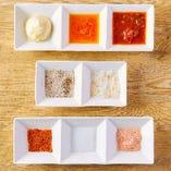 塩やソースは9種類!どれも相性抜群!毎日食べても飽きません!