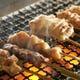 絶妙な火加減で焼き上げる串焼き 紀州備長炭を使用