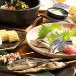 魚串を中心に、旬の食材を用いたメニューが勢ぞろい!