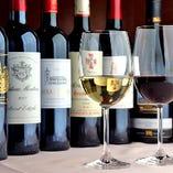 ワインも世界各国のワインを取り揃えております。