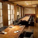 最大38名様まで収容可能な完全個室!!会社・仲間内の飲み会など幅広いシチュエーションでご利用いただけます!!