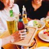 ボトルビールが多彩♪お洒落に乾杯するならコチラもおすすめ。