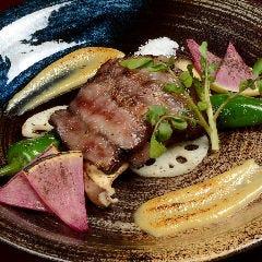 黒毛和牛の熟成ビーフステーキ 焼き野菜の白味噌ディップ