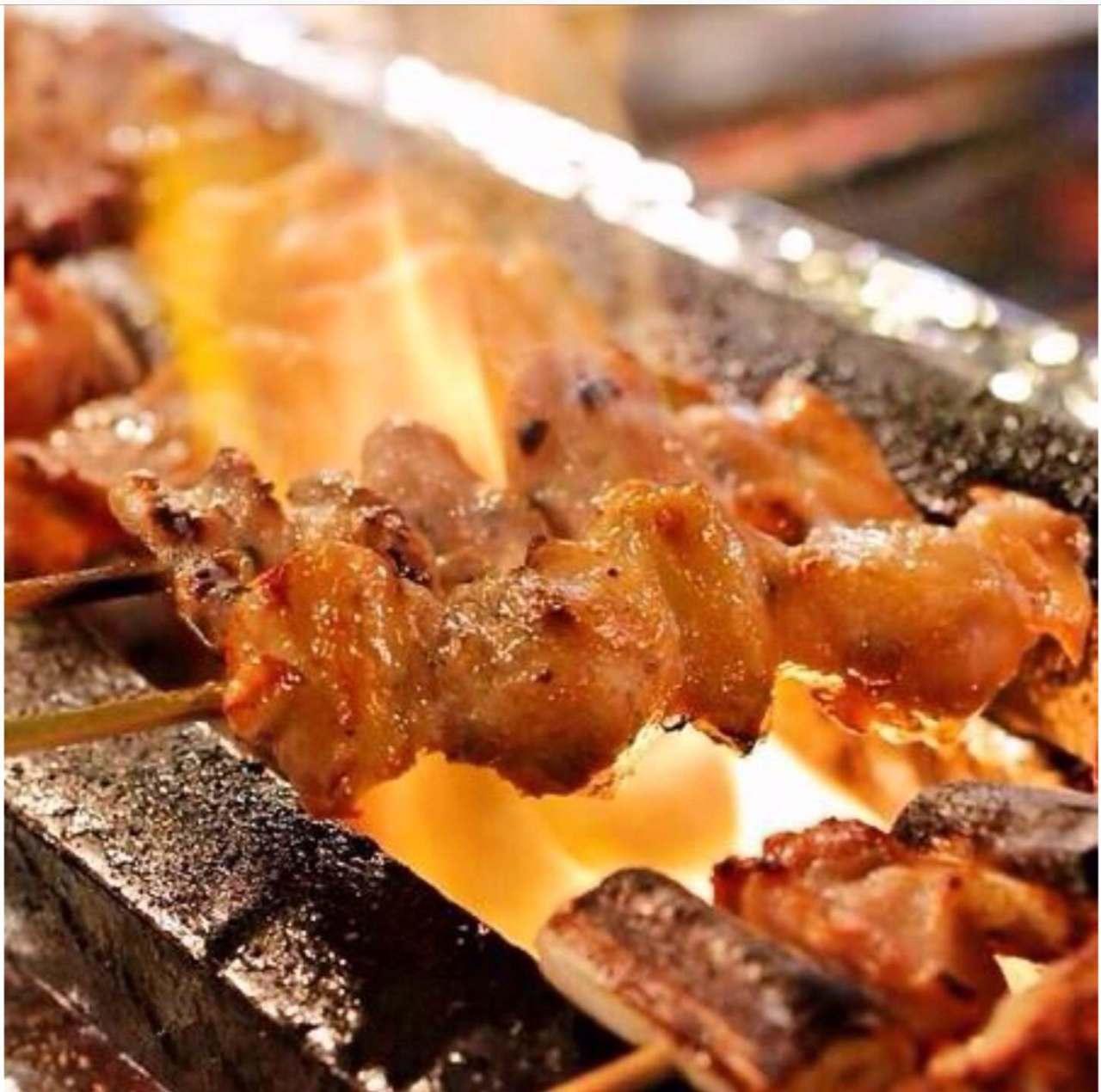 安曇野鶏とA4ランク和牛の串焼き!