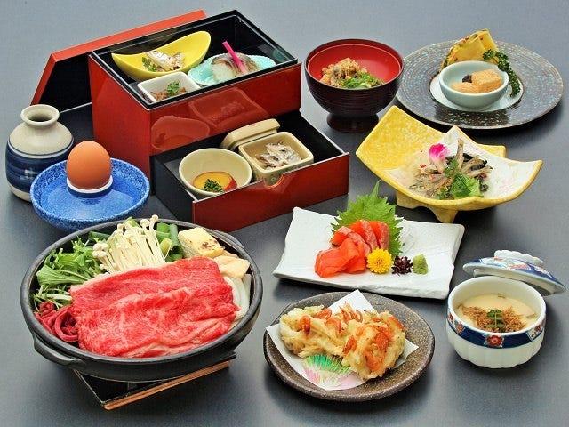 【昼食】近江牛&琵琶湖八珍【温泉入浴券付き】