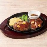 Wビーフのグリル(カットステーキ&All Beef ハンバーグ)~選べるソース